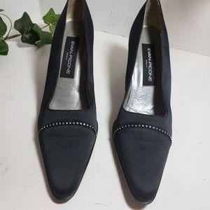 Evan Picone Black Peau de Soie Heels sz 8.5 M